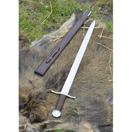 Épée de croisé à pommeau octogone, XIIIe siècle, avec fourreau en cuir