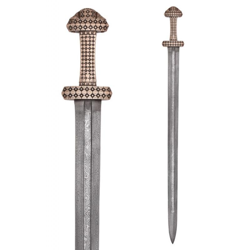 Épée Viking avec poignée en bronze, lame en acier Damas