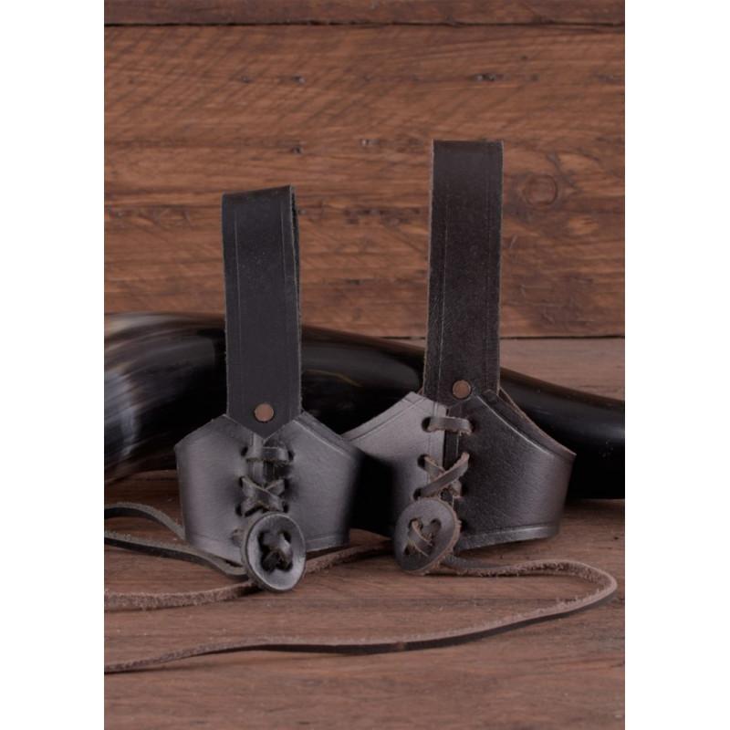 Porte-corne à boire en cuir pour ceinture