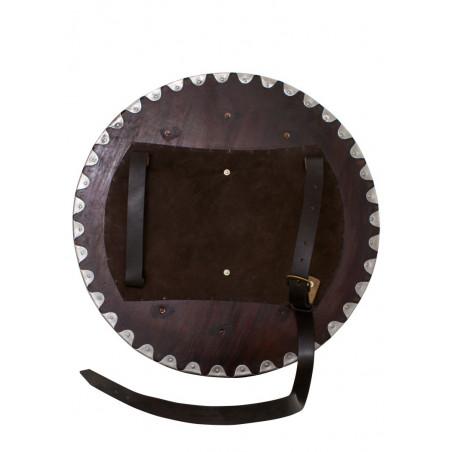 Bouclier rond Viking, bois avec raccords en acier