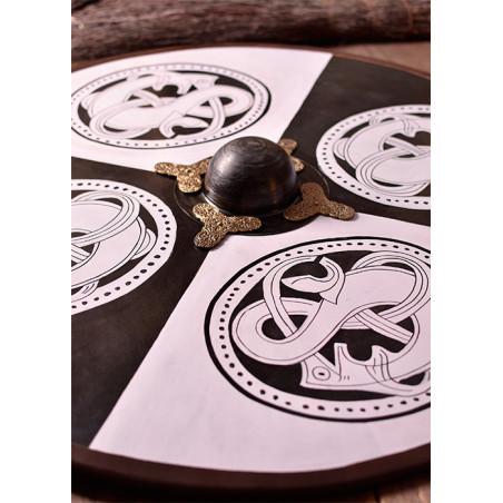 Bouclier Viking en bois avec motif griffon nordique