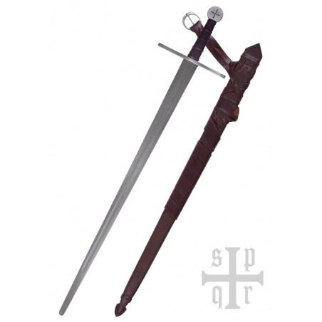 Épée Bâtarde templière prête au combat