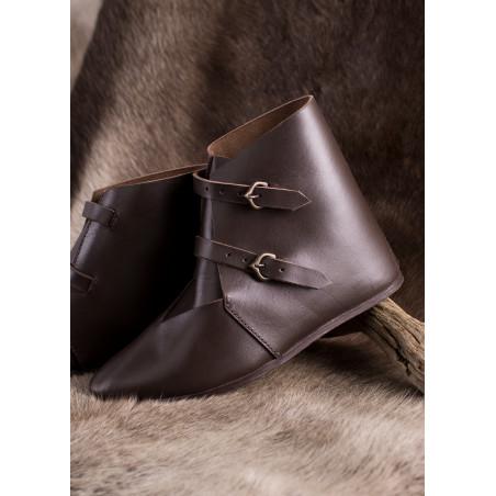 Chaussures médiévales à boucle, marron foncé