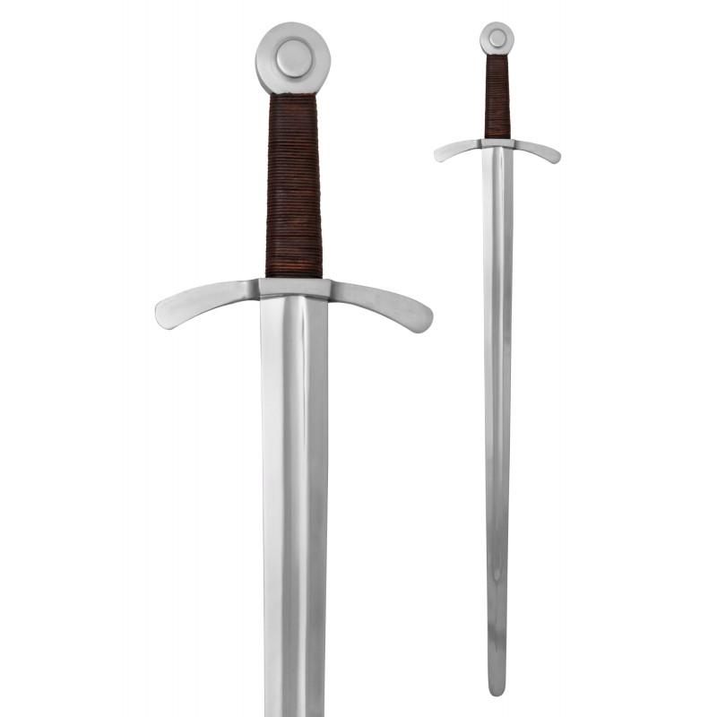 Épée de pommeau à disque et croisé avec fourreau en cuir