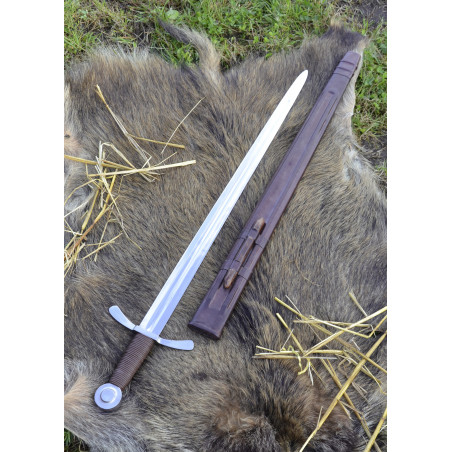 Épée de croisé avec fourreau en cuir