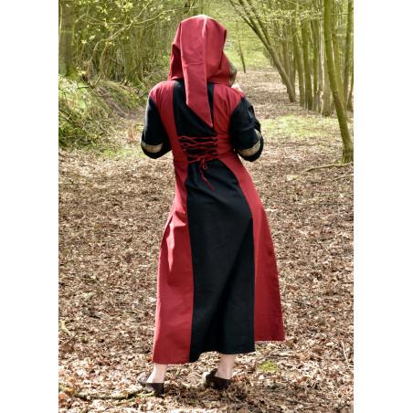 Robe médiévale Eleanor, avec capuche, rouge foncé et noir