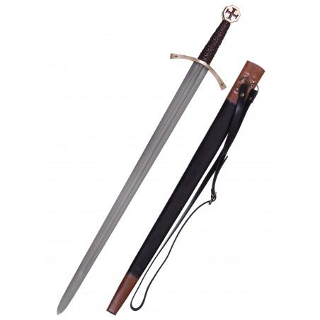 Épée Templier avec fourreau en cuir