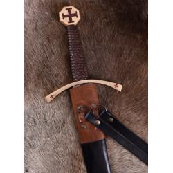Épée Templier avec fourreau en cuir, lame est en acier carbone