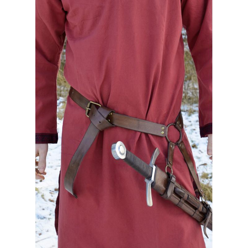 Ceinture sangle d'épée médiévale en cuir marron