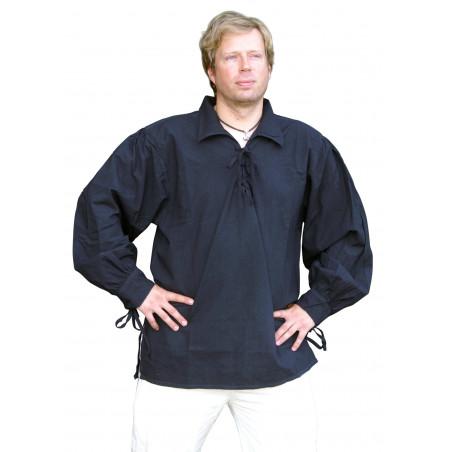 Chemise en coton, noir, moyenâgeux