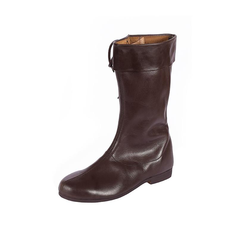 Longues bottes à lacets, brun foncé