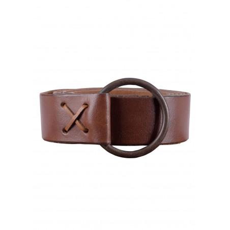 Longue ceinture médiévale avec anneau en laiton  marron