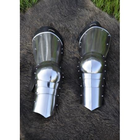 Jambière de la fin du Moyen Âge, acier 1,6 mm