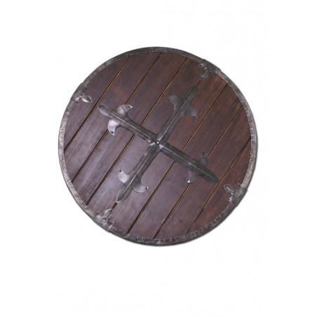Bouclier rond en bois avec raccords en acier
