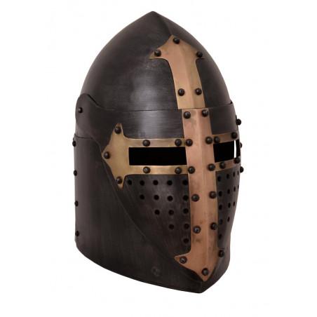 Heaume de croisé du XIVème siècle acier noirci